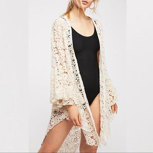 Free People Lace Bell Sleeve Ivory Cardigan